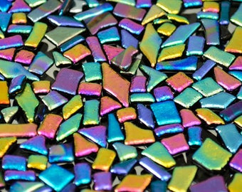 Rainbow Glass Tiles, Diamond, Tiny Tiles, Triangle, Square, Rectangle Tiles, Dichroic Mosaic Tiles, Dichroic Tiles