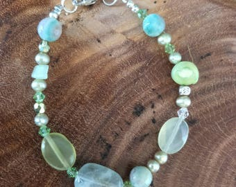Sterling Silver Semi Precious Bracelet/Aquamarine Bracelet/Prehnite Bracelet/Jade Bracelet/Pearl Bracelet