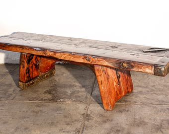 Fir Plank Bench with Live Edge, Custom-Made