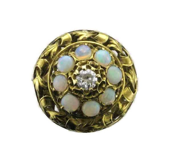 Yellow Gold Opal and Diamond Ring in Floral Design Old European