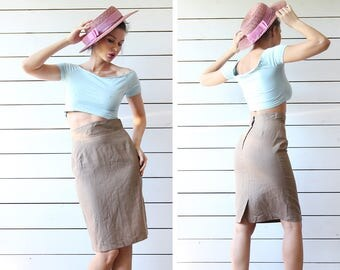 Vintage taupe beige linen knee length high waist pencil midi skirt Size XS