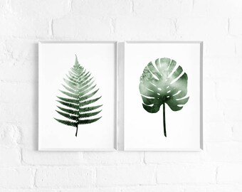 Watercolour Fern and/or Monstera Leaf A3 Art Print, Foliage Print Pair, Set of 2 Botanical Posters, Large Prints