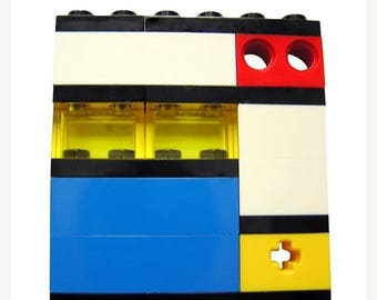 ON SALE Geek chic Primary Colors brooch - made from LEGO (R) bricks on stretchy cords - Mondrian Bauhaus De Stijl