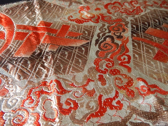 Vintage silver metallic lame red peach sepia silk ribbon fragment projects lampshade sewing salvage art deco oriental geometric floral from abfabs10 on etsy