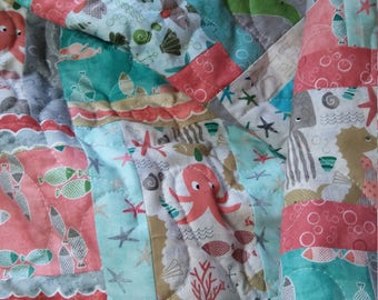 Modern nautical baby quilt, soft aqua Minky back, marine life baby blanket, stroller quilt, under the ocean blue quilt