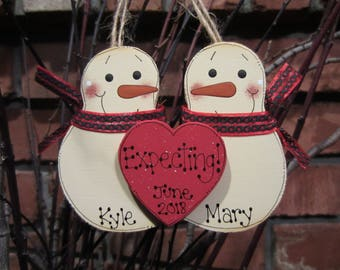 Personalized Snowmen Couple Ornament - Expecting a Baby