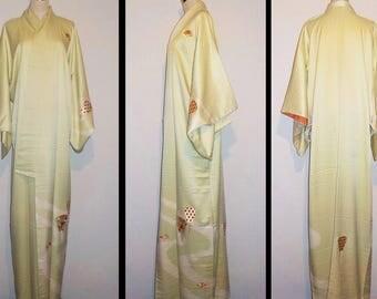 Vintage kimono - Tsukesage, Shibori, Embroidery, Water flow and folding fan