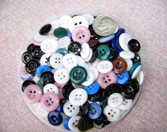 Lot of 130 Vintage Assorted China Buttons Glass Buttons