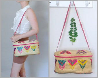 Boho Chic Vintage Woven Wicker Straw Purse, Tropical Crossbody Straw Handbag, Floral Raffia Purse, Retro Purse, Beach Vacation Wicker Purse