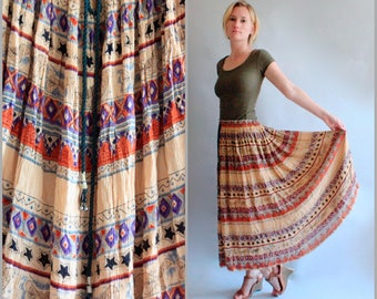 Vintage India Cotton Gauze Skirt Gypsy Skirt Boho Skirt Ethnic Boho Sheer Indian Skirt Hippie Skirt Festival Clothing Free Size Drawstring