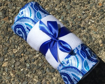 Burp Cloth / Changing Pad: Modern Blue Swirls, Personalization Available