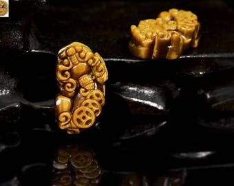 1 pair of natural Yellow Tiger Eye carved brave troops gemstone beads, pendant beads 20x37mm