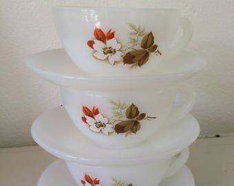 Arcopal cups and saucers 3 x retro vintage cups and saucers Arcopal France