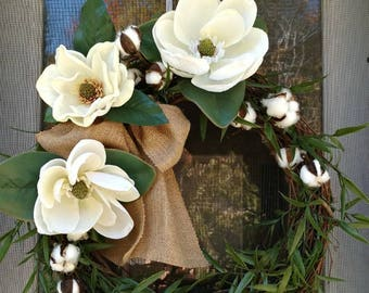 Magnolia wreath.  Farmhouse wreath. Front door wreath. Southern wreath. Cotton stem wreath.  Cotton wreath. Year round wreath. Made to order