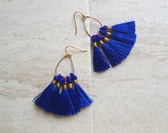 Midnight Blue Tassel Earrings Tassel Teardrop Hoop Earrings Must Have Tassel Earrings Statement Tassle Earrings Blue Tassel Earringsra