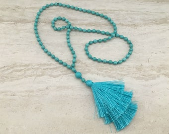 ARIA Tassel Stack Necklace Hand Knotted Turquoise Beads Turquoise Tassel Necklace Aqua Silk Tiered Tassels Long Tassel Stack Necklace