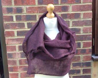 Italian Mohair Knit Extra large Shawl in Plum,  Winter wedding shawl, Outlander style shawl,  mohair wrap shawl, Mohair Bridal shawl