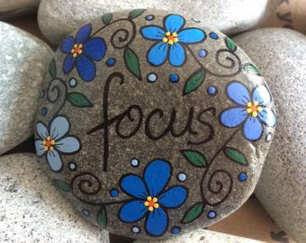 Happy Rock - FOCUS - Hand-Painted Beach River Rock Stone - blue pansy flower forget me not