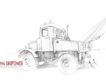 1946 Unipower Truck - Original A3 Pencil Sketch