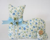 Cat Doll, Blue Rose Cat, Pillow Tuck, Cottage Chic Cat, Cat Shape Pillow, Shelf Sitter, Stuffed Cat, Country Floral Cat