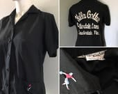 Vintage black bowling shirt King Louie Hella cool rockabilly swing dance polo shirt monogrammed Fort Lauderdale Florida
