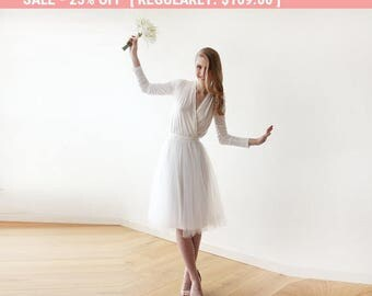 25% OFF Ivory midi length tulle dress with long sleeves , Reception ivory tulle midi dress 1068
