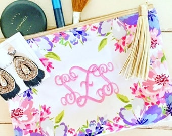 Floral Zipper Pouch with Gold Tassel