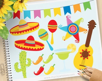 Clipart - Cinco De Mayo / Mexico, maracas clipart, Piñata, margarita, mardi gras clipart, sombrero, Commercial Use Vector Clip Art, SVG Cut