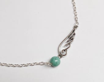 Silver wing and Pearl chain necklace