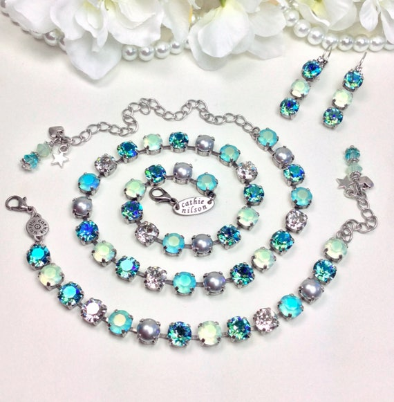 """Swarovski Crystal 8.5mm Necklace - """"Misty Morn"""" Stunning Gorgeous Matte AB Colors With Silver Grey Pearls - Designer Inspired FREE SHIPPING"""