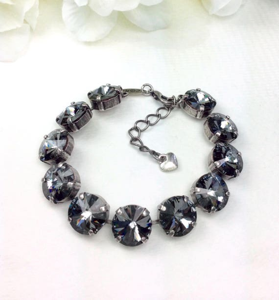 Swarovski Crystal 12MM Bracelet   - Designer Inspired - Silver Night - Stunning & Classy - SALE - FREE SHIPPING