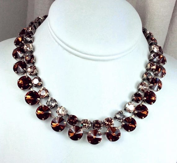 "Swarovski Crystal 12MM Chocolate Brown Necklace and 8.5mm ""Bronzey Brown"" Necklace - Designer Inspired - Stunning - SALE - FREE SHIPPING"