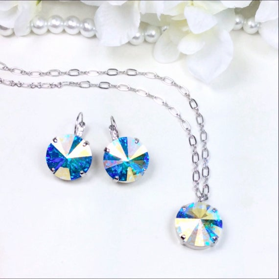 Swarovski Crystal 18MM Drop Earrings and Matching 18MM - One Stone Pendant  -Big and Beautiful AB - Perfect Summer Jewelry -   FREE SHIPPING