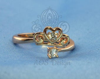 Princess Cinderella Heart Tiara / Pumpkin Heart 925 Silver Plated with 18kt Rose Gold Open Ring Gift for Her
