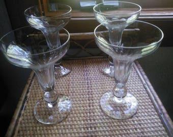 Vintage Set of Four Hollow Stem Champagne Glasses - Champagne Glasses - Hollow Stemmed Champagne Glasses