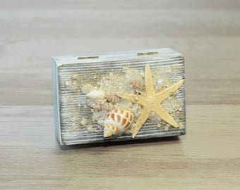 Beach Wedding Box Seashell Starfish Ring Bearer Box Nautical Ring Box White Black Ring Holder Personalized Pillow Alternative  Еngagement