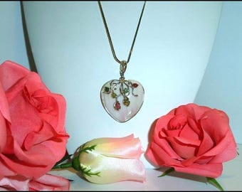 Heart Shaped Necklace Pendant - Vintage Pastel Pink Toned MOP Overlay of Vines -Sterling Chain - Neck-7114a-070917010