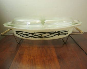 Vintage Pyrex Divided Casserole With Cover And Rack Pyrex 1958 Promotional Release