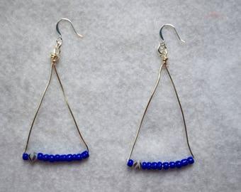 Triangular Cobalt Blue and Zebra Beaded Drop Earrings