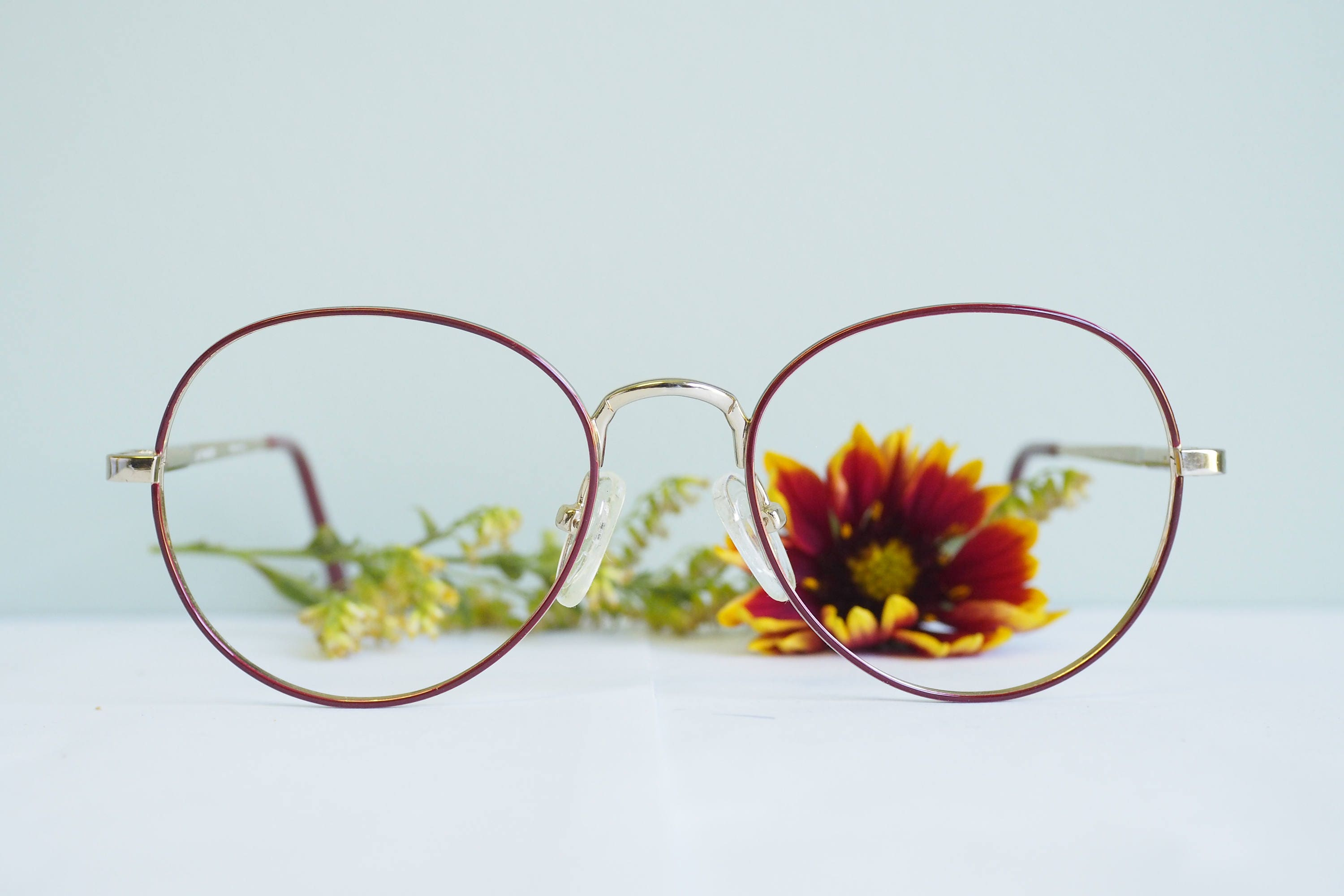 Vintage Eyeglass 1990 s Semi Round Frames By Optimode Made In France Gold  Toned Red Enamel New f738facd63