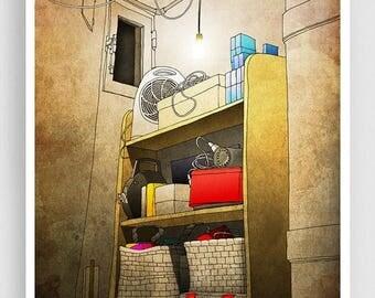 30% OFF SALE: Old Secrets - Paris illustration Paris apartment Art illustration Mixed media illustration Art Prints Posters Home decor Wall
