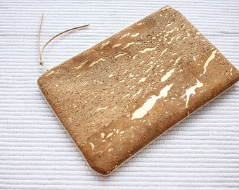 Gold Cork Leather + Denim Pouch - Denim Clutch - Cork Pouch - Organiser Case- Make up Bag