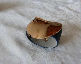 leather Cuff Bracelet and silver, Royal Blue leatherette with big gold plate.
