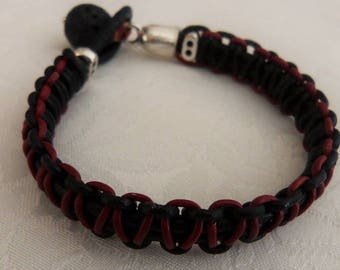 leather men, leather and Pearl 14 mm lava stone bracelet