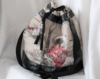 Handmade Leather and canvas tote bag