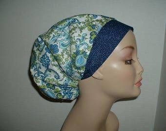 Mod Flowers Aqua Lime Blue Bouffant OR Scrub hat Surgical cap CNOR CRNA