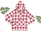 1970s checkered hoodie, 70s hooded linen top, vintage checkered shirt, retro checkered hooded sweatshirt, red and white checker print tunic