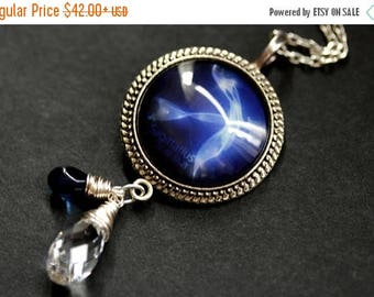 SUMMER SALE Sagittarius Necklace. Cobalt Blue Zodiac Astrology Necklace. Sun Sign Constellation Necklace. Wire Wrapped Crystal Necklace. Cha