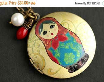 VALENTINE SALE Russian Doll Locket Necklace. Russian Nesting Doll Necklace with Red Coral Teardrop and Pearl Charm. Matryoshka Doll Necklace