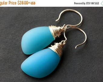 VALENTINE SALE Ocean Blue Seaglass Earrings. Ocean Blue Earrings. Ocean Blue Sea Glass Earrings. Wire Wrapped Wing Earrings. Handmade Jewelr